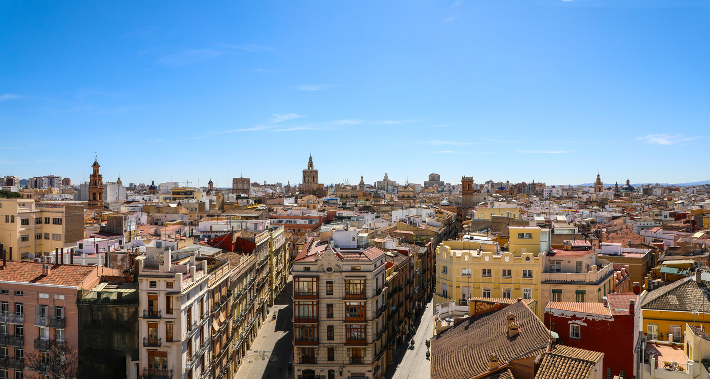 Aerial view of the Old Town skyline of Valencia Spain